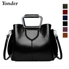 Bolso de hombro de cuero genuino para mujer de Yonder, bolso de mano Retro de cuero real, bolso de mensajero marrón para mujer