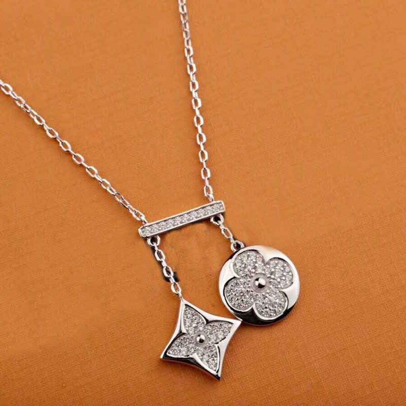 New Arrival 925 Sterling Silver Crystal Clover Necklaces Pendant Hot Sale Pure Silver Cross Jewelry for Women