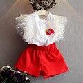 Летний детский Рубашка + Красные Шорты 2017 Корейской моды девушки Блузка брюки 2 шт. Набор 3-7 Год