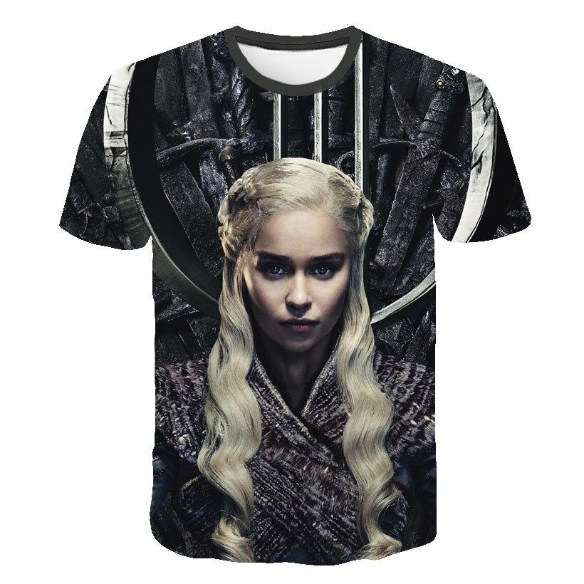 Man New Daenerys Targaryen Character O Neck Tshirt 3D Printed Game Of Thrones Large Size T-shirt Men's Leisure Tee S-6XL(China)
