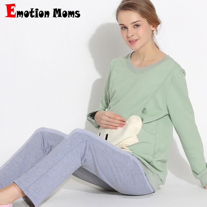 Emotion Moms maternity sleepwear Sets Pregnancy Pajamas Nightwear nursing clothes breastfeeding Pajamas Suit for pregnant women цена