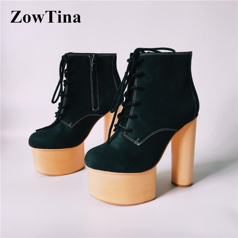 c2f340eb33411b 6 Style Talons Hauts En Woody Chaussures Femmes 3 Cheville Femme 4 Botas No  D'hiver 2 Cuir ...