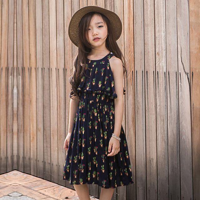 8fc363bbce Girls Dress Summer 2019 New children Cotton Floral Princess Dress Korean  Big child 5-16 Year