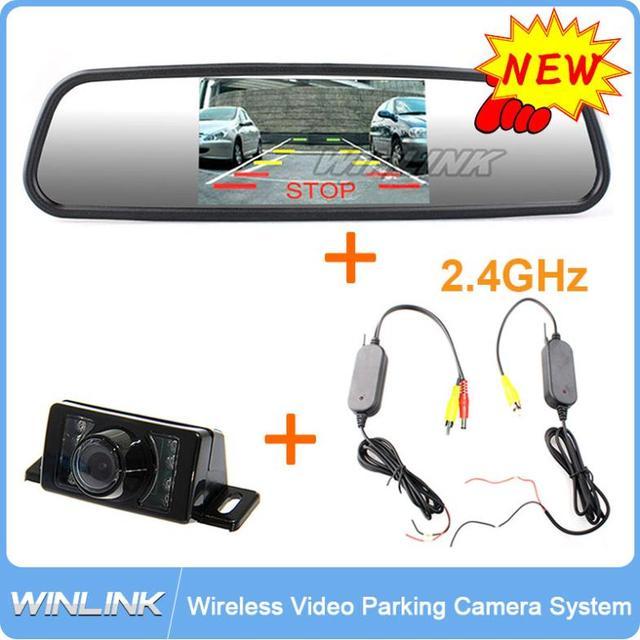 """Caliente 3 en 1, la radio Conecta/4.3 """"TFT LCD a Color de Rearview del Revés Del Monitor para el Coche 16:9 coche monitores del espejo/de visión Nocturna cámara"""
