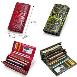 Image 2 - Contacts couro genuíno mulheres carteiras senhora bolsa longo carteira de jacaré elegante moda feminina embreagem com titular do cartão