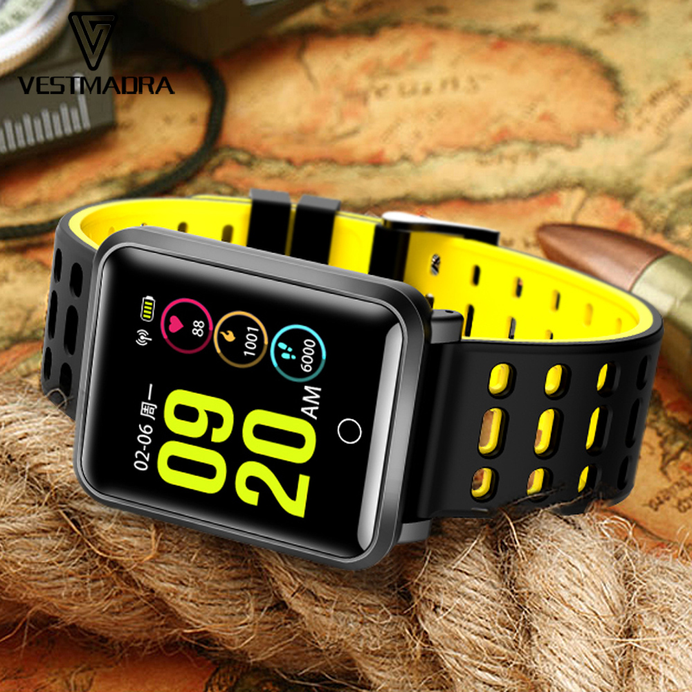 Galleria fotografica VESTMADRA TF2 Smart Watch Blood Pressure Monitor IP68 Waterproof Heart Rate Tracker Multi-Sport <font><b>Smartwatch</b></font> Men Fitness Tracker