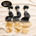 New Arrival Free Shipping 3 Bundles 12-18 Inches Brazilian Blonde Ombre Human Hair Extensions Body Wave