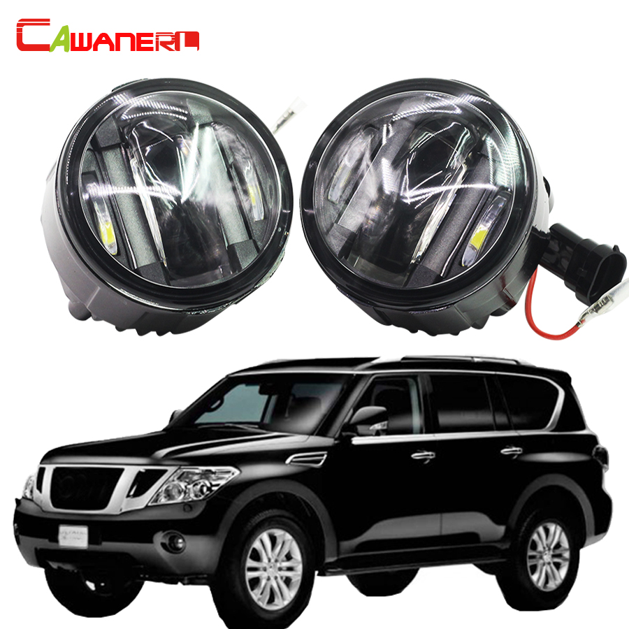 Cawanerl 2 X Car Style LED Fog Light Daytime Running Lamp DRL For Nissan Patrol III (Y62) 5.6 Closed Off-Road Vehicle 2010 Up for nissan patrol y62 armada accessories original design fog lamp with chrome fog light cover