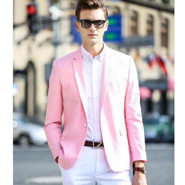 Розовый мужчины пиджак лацканы a зерно пряжки досуг костюм день рождения семейный праздник мужчина, костюм, мода настройки