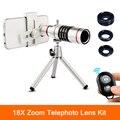 Clips Universal 18x Zoom Lentes Lentes de Telefoto Telescópio Com Tripé de Peixe olho grande angular lente macro para iphone 6 7 telefone celular