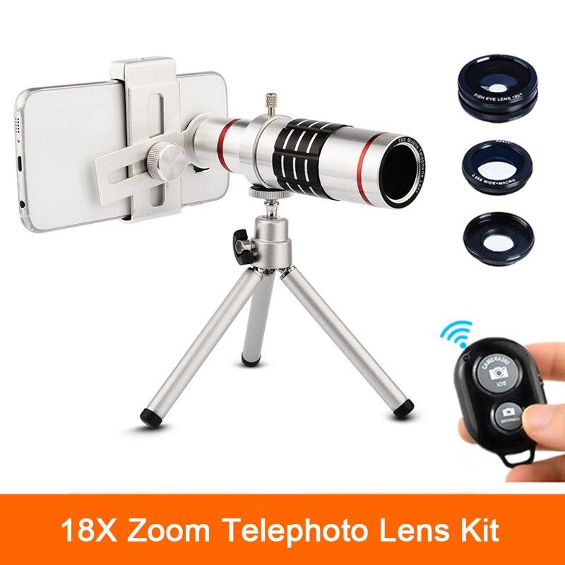 bilder für Universal Clips 18x Zoom Linsen Teleskop Tele Lentes Mit Stativ Fisch auge weitwinkel makro-objektiv für iphone 6 7 handy