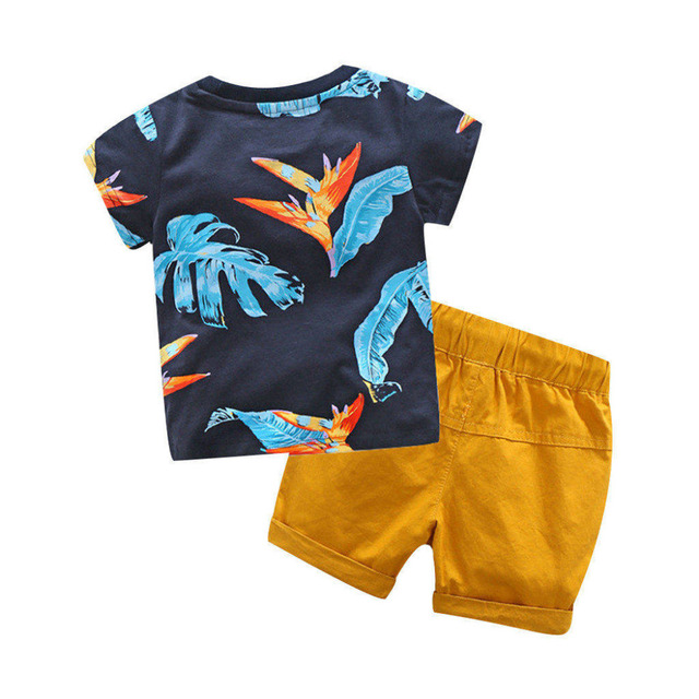 Summer Toddler Baby Boys Clothes Leaf Letter Print T Shirt Tops Solid Short Pants Kids Boy Casual Soft Clothing Sets Beach Wear