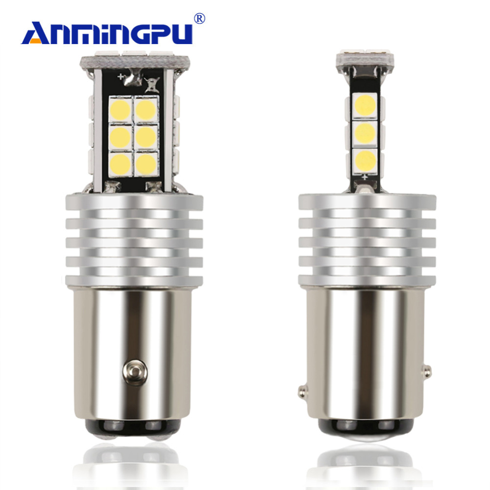 ANMINGPU 2x Signal Lamp 1157 BAY15D LED Car Lights P21/5W 24 3030SMD Auto Led Bulbs 12V Red Brake Tail Lamp Car Backup Light merdia 1157 22 x smd 1206 led blue light car brake backup light 2 pcs