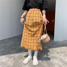 YICIYA Harajuku Yellow Plaid Long Skirts Korean Vintage Style Blue High Waist Checkered Elastic Skirt Womens Clothes 2019
