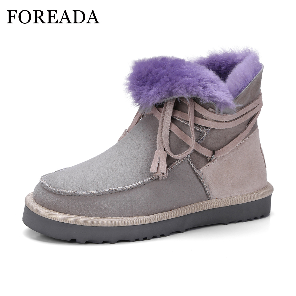 FOREADA Genuine Leather Snow Boots Women Winter Ankle Boots Platform Flat Boots Wool Fur Warm Suede Shoes Lace Up Female Shoes