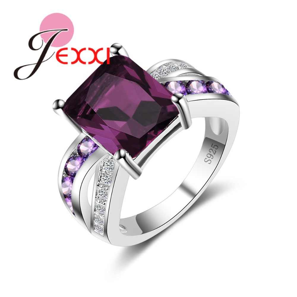 Genuine 925 Sterling Silver Ring Dark Purple CZ Wedding Rings For Women Engagement Band Fashion Anillos Top Quality