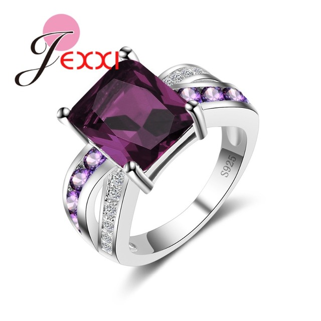 JEXXI Genuine 925 Sterling Silver Ring Dark Purple CZ Wedding Rings For Women En