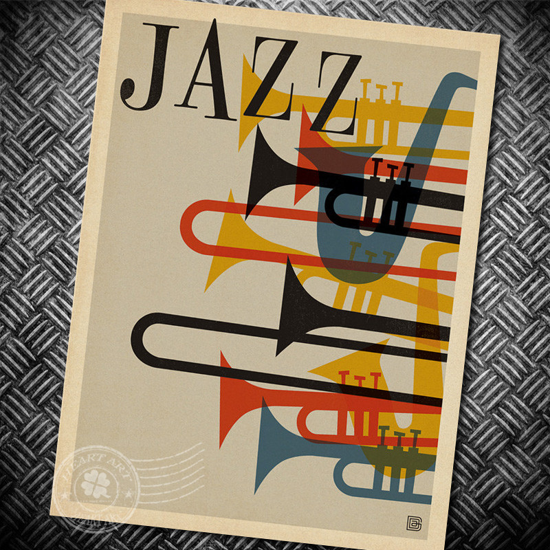 jazz brassy1950s vintage poster retro kraft paper poster