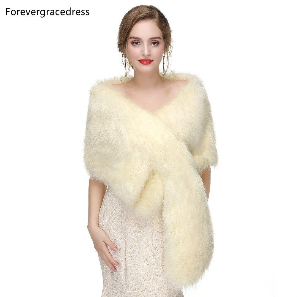 Forevergracedress 2019 Elegant Soft Autumn Winter Faux Fur Bride Wedding Wraps Bolero Jackets Bridal Coats Shawls Scarves PJ449