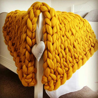 Extra Thick Yarn Crocheted Bed Sofa Blanket Hand Chunky Warm Wool Knitted Blanket Wool Bulky Knitting