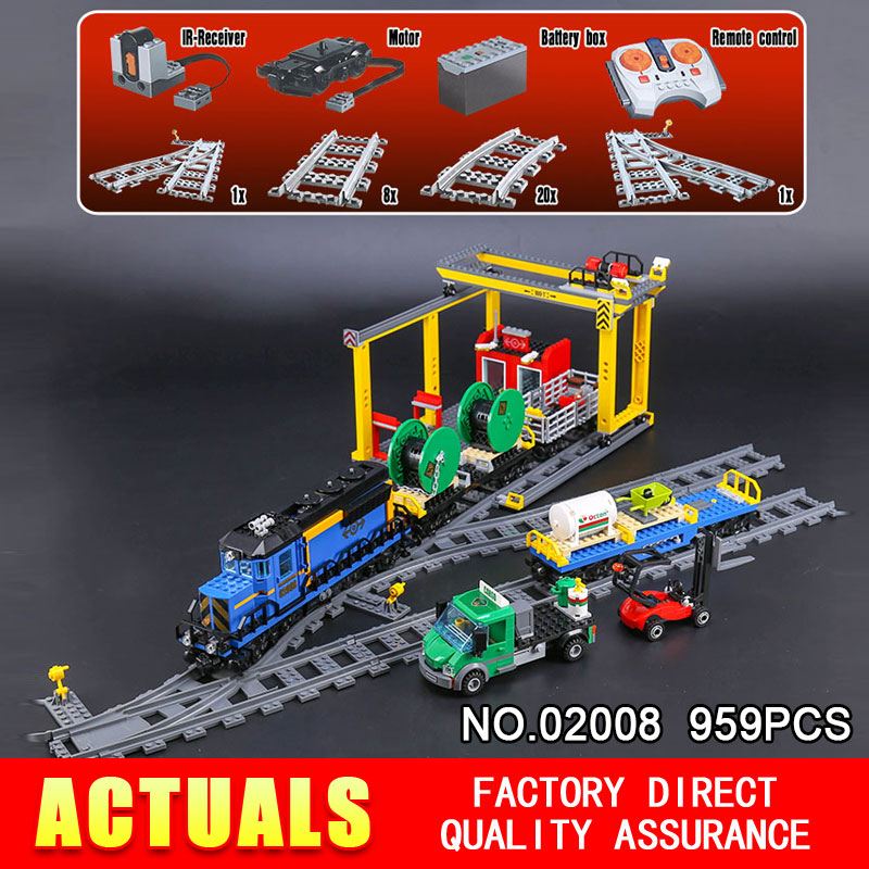 Lepin 02008 959Pcs City Series The Cargo Train Set 60052 Model RC Building Blocks Bricks Toys for Children Christmas Gifts lepin 02008 the cargo train 959pcs city series legoingly 60052 plate sets building nano blocks bricks toys for boy gift