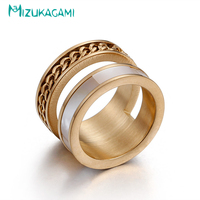 2017 Promotion Real Anillos Double-deck Round Gold/silver Chain Turn Rings Titanium Material For Women Elegant Design Jewelry