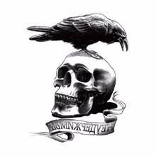 Unique Waterproof Leg Makeup Body Art Skull & Crow Tattoos (Expendable) Cool Tough Man Temp Stickers Skin Tags 19x12cm