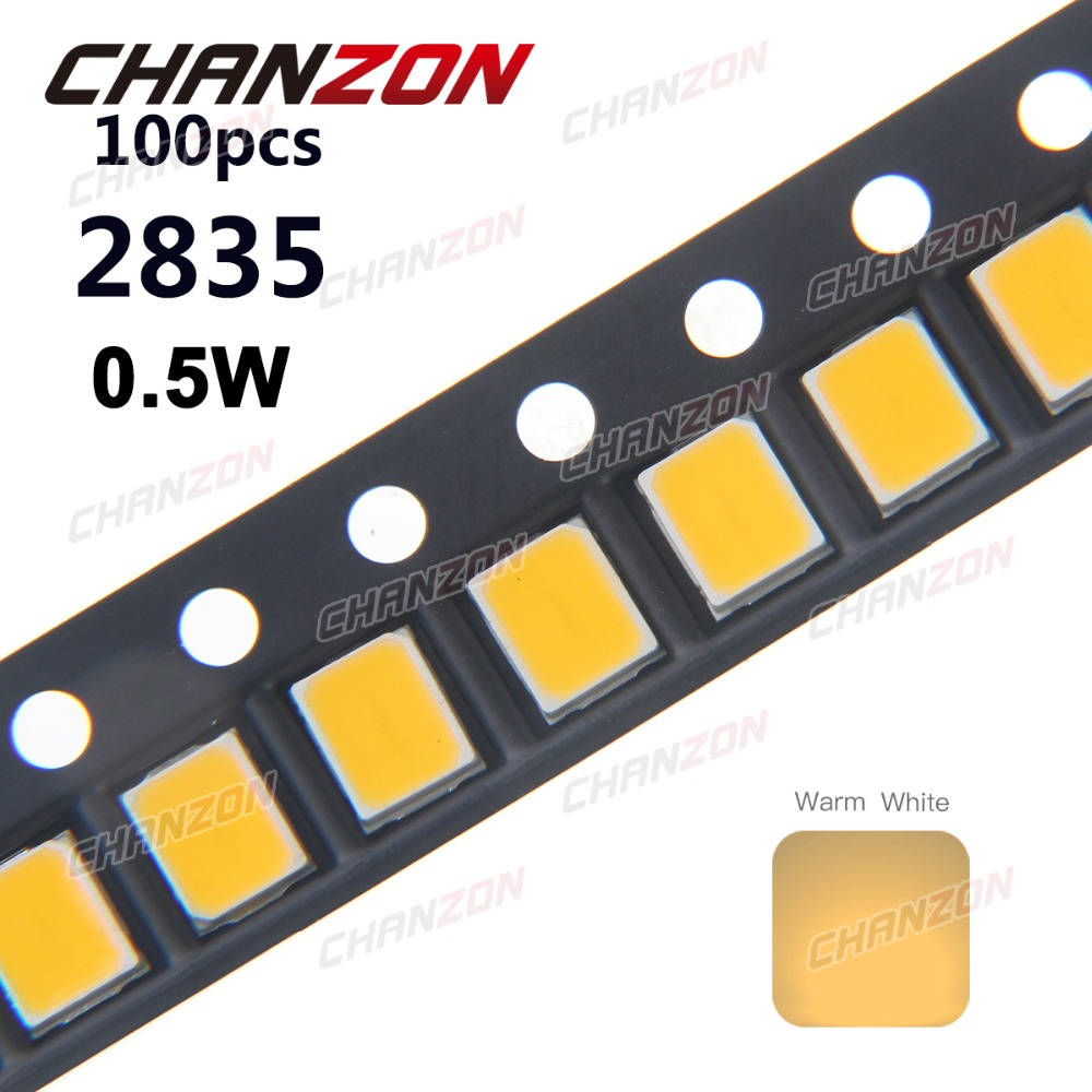 100pcs <font><b>SMD</b></font> <font><b>2835</b></font> Warm White <font><b>LED</b></font> Chip 0.5W 3V 150mA 50-55LM Ultra Bright SMT Surface Mount <font><b>LED</b></font> Chip DIY Light Emitting Diode Lamp image