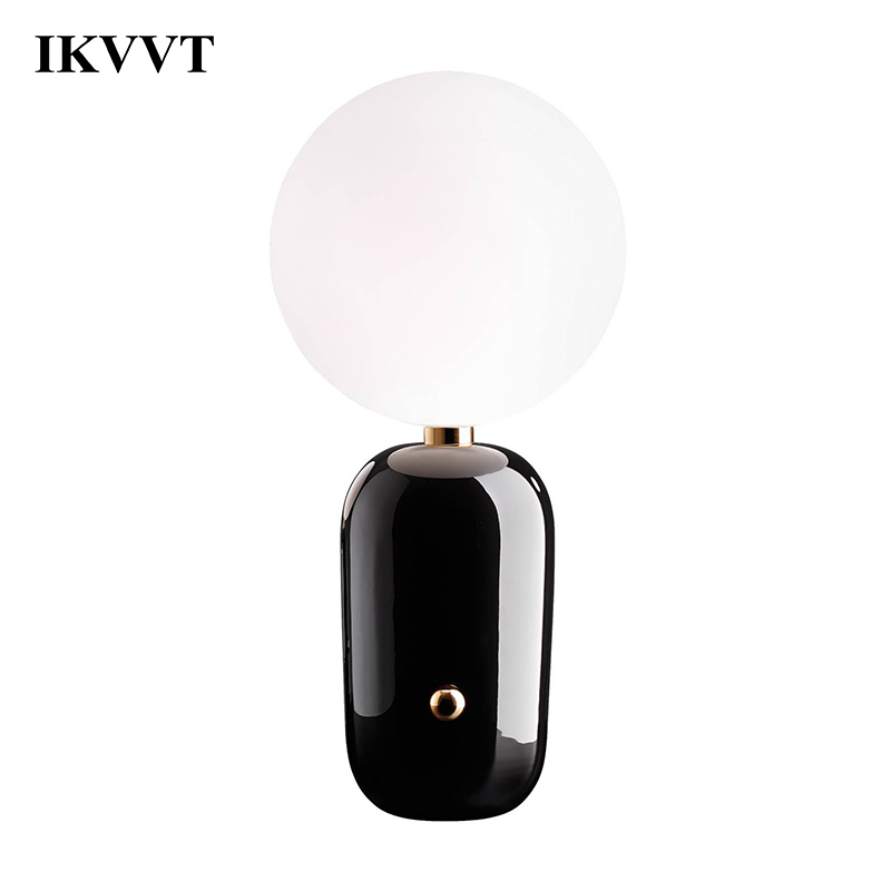 IKVVT Desk Lamps Creative Glass Table Lamp Modern Minimalist for Living Dining Room Bedroom bedside Study Ball Lamp Home Decor modern minimalist living room floor desk lamp dimming study creative table lamp lighting