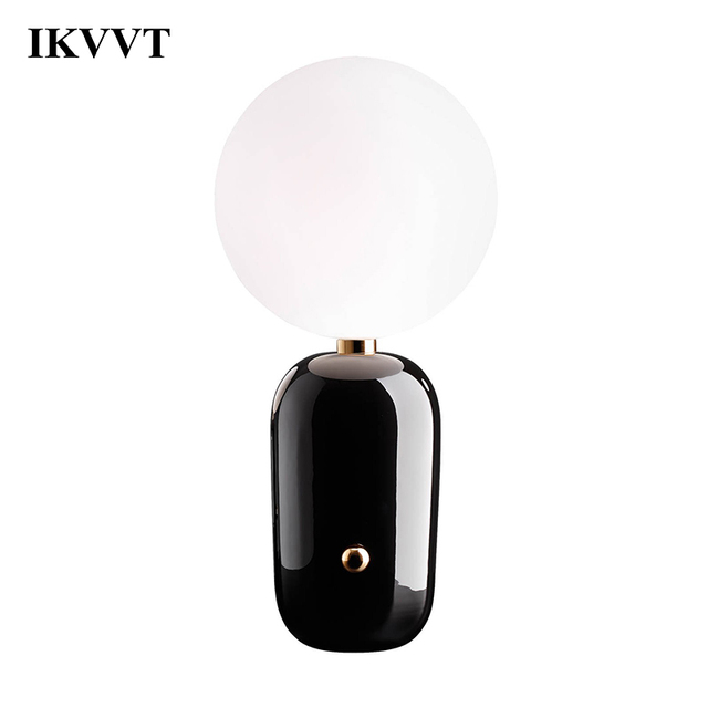 IKVVT Desk Lamps Creative Glass Table Lamp Modern Minimalist for Living Dining Room Bedroom bedside Study Ball Lamp Home Decor