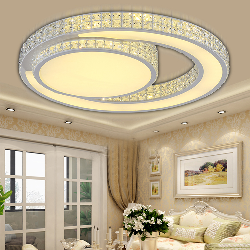 Ceiling Lights LED Modern Bedroom Lighting Crystal Lampshade Living Room  Ceiling Light Luces Del Techo Fittings