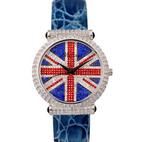 Melissa Lady Wrist Watch Woman Hours Quartz Fashion Dress Bracelet Union Flag British Style Luxury Rhinestones Crystal Gift