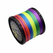 8 Strengen Gevlochten Vislijn 1000M Super Power Polyethyleen Vezel 40lb 185lb Multicolor Extreme Gevlochten Vislijn 1000M