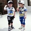 Детский летний спортивный костюм для мальчиков: футболка с коротким рукавом и штаны, высокое качество, с рисунком Мини, новинка 2015