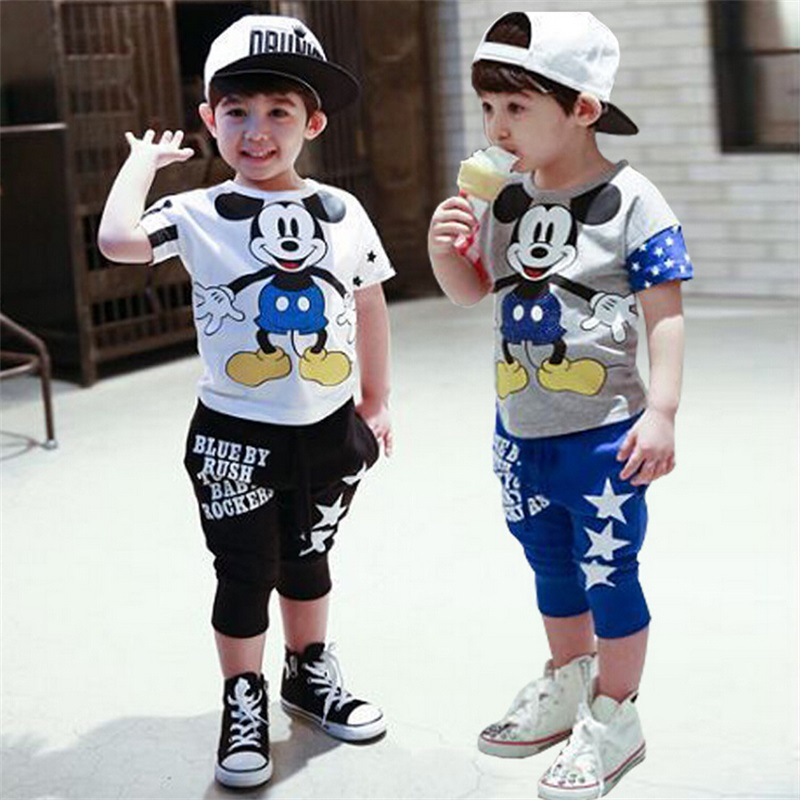 Fasion mickey Children Clothing set baby girls boys Clothes sets Minnie short sleeve t-shirt+pant summer style Kids sport suit