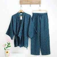 Uomini di estate Kimono Giapponese robe Pigiama Tuta uomo giappone Cotone Doppio Tessuto Garza Allentato Indumenti Da Notte Camicia Da Notte Top & Buttoms Set