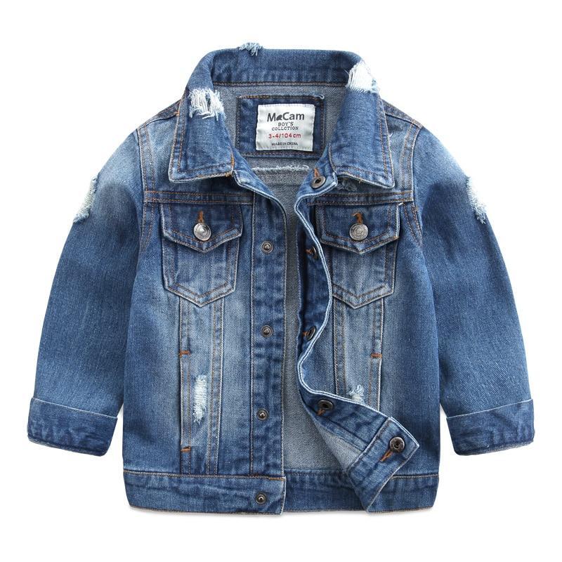 2018 Spring New Fashion Children Outerwear & Coats Boys Clothing Hole Denim Jacket Baby Kids Jackets Long Sleeve Denim Jean Coat цена 2017
