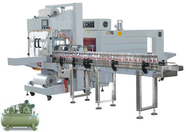 High Speed Sleeve wrapping sealing Shrinking Machinery for bottle,automatic film wrapper line,channel style packing equipment