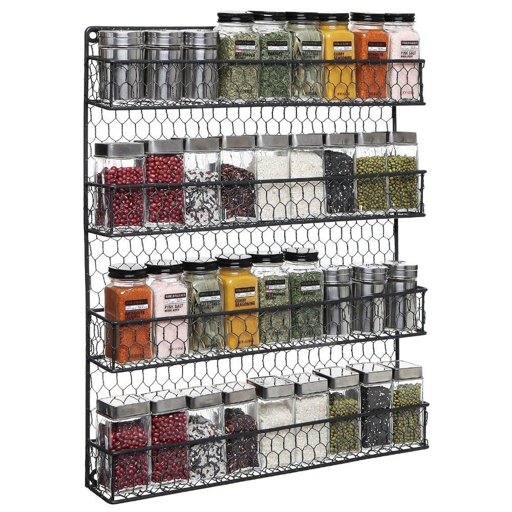 Garde-manger rustique de fil de poulet de pays noir de 4 rangées, armoire ou organisateur de stockage fixé au mur de support d'épice