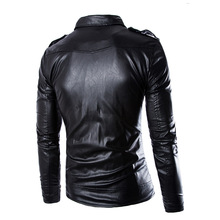 Free Shipping 2017 New Fashion Top Men Leather Jacket Jaqueta De Couro Inclined Zipper Motorcycle Leather Jacket Plus 4xl A004