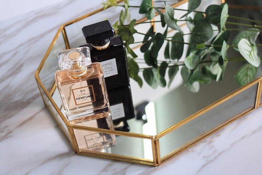 Caja de almacenamiento de bandeja cuadrada decorativa de cristal espejado de Metal Vintage para joyería de maquillaje dorada, conjunto de 2 (pequeño y grande)-in Cajas y recipientes de almacenamiento from Hogar y Mascotas    3