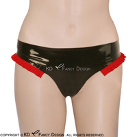 Black With Red Sexy Latex Briefs With Frills At Two Side Rubber Underwears Panties Underpants Pants DK 0096