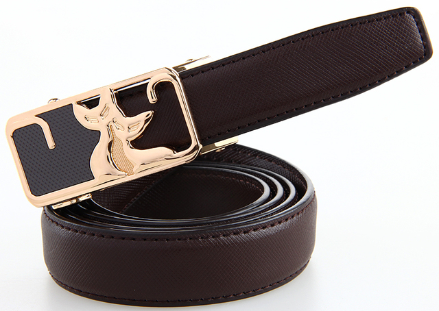 Durable Automatic Buckle Woman Belt Black HQ Genuine leather