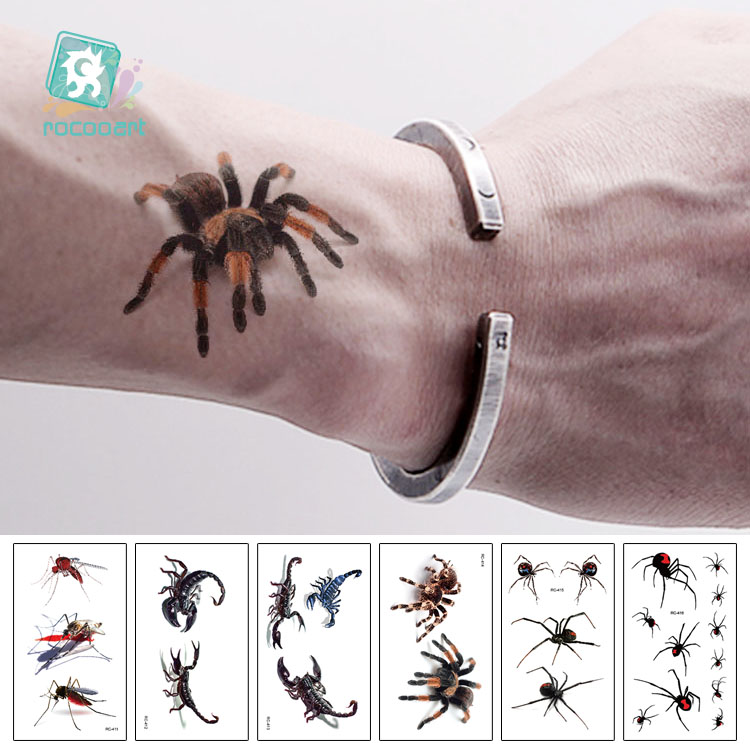 Rocooart 3D Spider Tatoo Scorpion Temporary Tattoo Stickers For Halloween Fake Tattoo Body Art Tatuajes Joke Tatouage Temporaire
