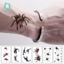 hot deal buy rocooart 3d spider tatoo scorpion temporary tattoo stickers for halloween fake tattoo body art tatuajes joke tatouage temporaire