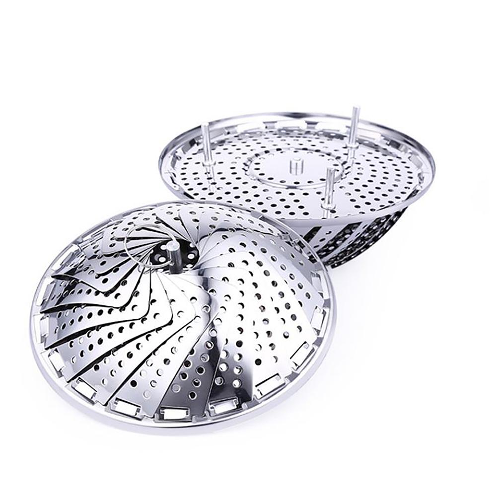 Stainless Steel Folding Retractable Steamer Fruit Drain Plate With Metal Handle For Kitchen Home Supplies