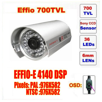 Free shipping security 1/3 Sony Effio CCD 700TVL OSD menu 36 LED outdoor/indoor mini bullet camera IR 30m CCTV camera C550H