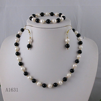 Unique Pearls jewellery Store AA 7-9MM Black Agates White Freshwater Pearl Necklace Bracelet Earrings Jewelry Set