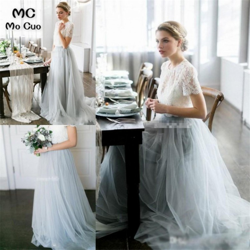 2019 Sheer Lace Wedding Party   Dress     Bridesmaid     Dress   Long with Appliques Tulle Short Sleeve Women   Bridesmaid     Dresses