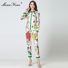 hot deal buy moaayina 2018 fashion designer runway set summer women long sleeve floral print casual elegant tops+floral 3/4 pencil pants set